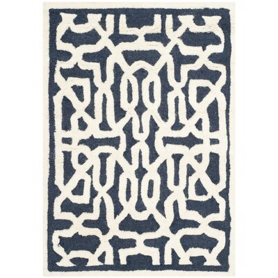 Martins Navy / Ivory Area Rug Rug Size: Rectangle 2 x 3