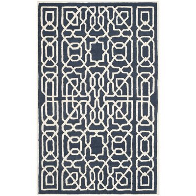 Martins Navy / Ivory Area Rug Rug Size: Rectangle 6 x 9