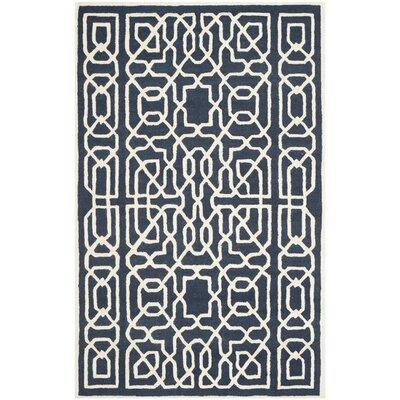 Martins Navy / Ivory Area Rug Rug Size: 5 x 8