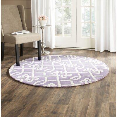 Wilkin Purple / Ivory Area Rug Rug Size: Round 5