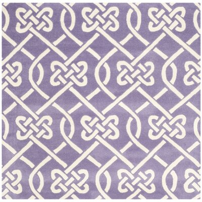 Wilkin Purple / Ivory Area Rug Rug Size: Square 5