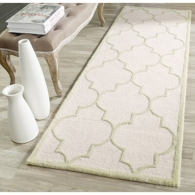 Charlenne Hand-Tufted Ivory/Light Green Area Rug Rug Size: Runner 26 x 8