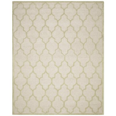 Charlenne Hand-Tufted Ivory/Light Green Area Rug Rug Size: Rectangle 8 x 10