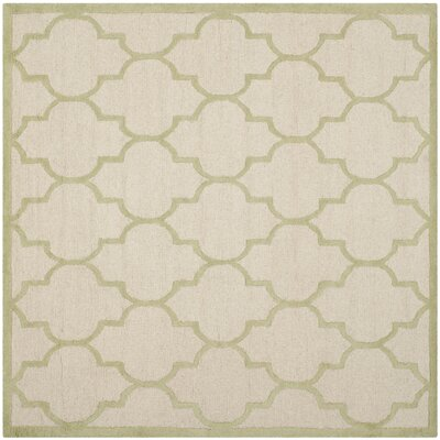 Charlenne Hand-Tufted Ivory/Light Green Area Rug Rug Size: Square 6