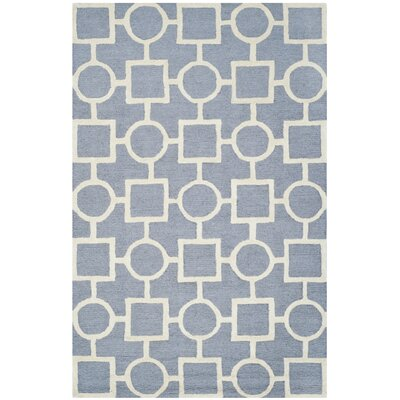 Martins Light Blue / Ivory Area Rug Rug Size: Rectangle 4 x 6