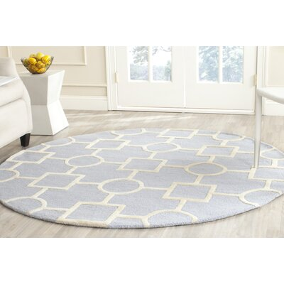 Martins Light Blue / Ivory Area Rug Rug Size: Round 6