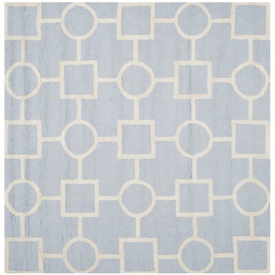 Martins Light Blue / Ivory Area Rug Rug Size: Square 6