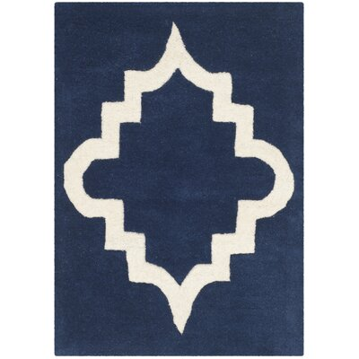Wilkin Dark Blue / Ivory Area Rug Rug Size: Rectangle 2 x 3