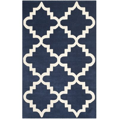 Wilkin Dark Blue / Ivory Area Rug Rug Size: Rectangle 4 x 6