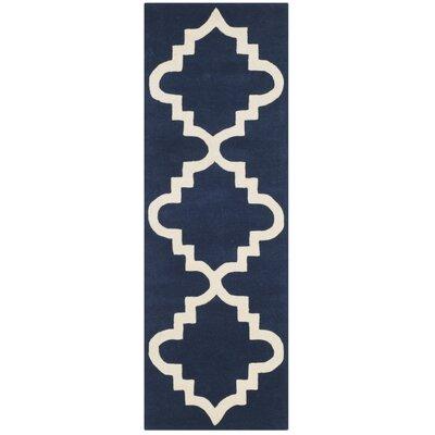 Wilkin Dark Blue / Ivory Area Rug Rug Size: Runner 23 x 7