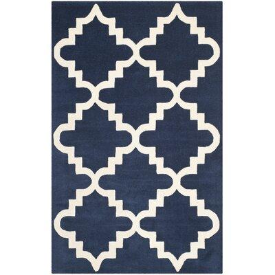 Wilkin Dark Blue / Ivory Area Rug Rug Size: 4 x 6