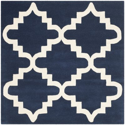 Wilkin Dark Blue / Ivory Area Rug Rug Size: Square 5