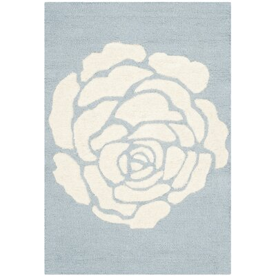 Martins Blue / Ivory Area Rug Rug Size: Rectangle 4' x 6'