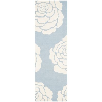 Martins Blue / Ivory Area Rug Rug Size: Runner 2'6