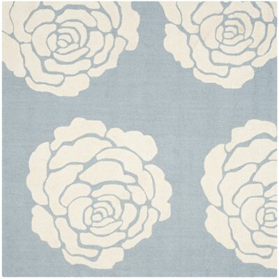 Martins Blue / Ivory Area Rug Rug Size: Square 6