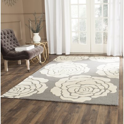 Martins Dark Gray / Ivory Area Rug Rug Size: Rectangle 4 x 6
