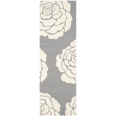 Martins Dark Gray / Ivory Area Rug Rug Size: Runner 26 x 8