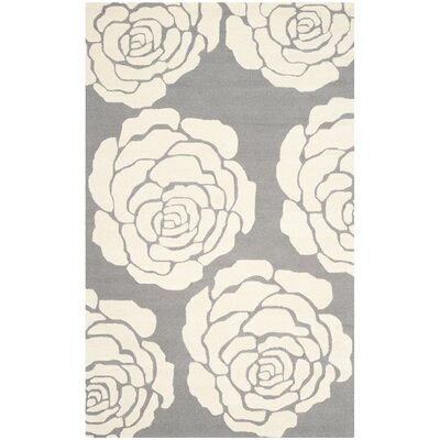 Martins Dark Gray / Ivory Area Rug Rug Size: 4 x 6