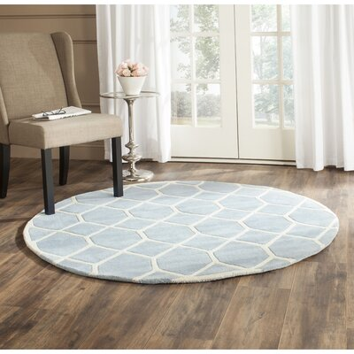Wilkin Blue / Ivory Area Rug Rug Size: Round 5
