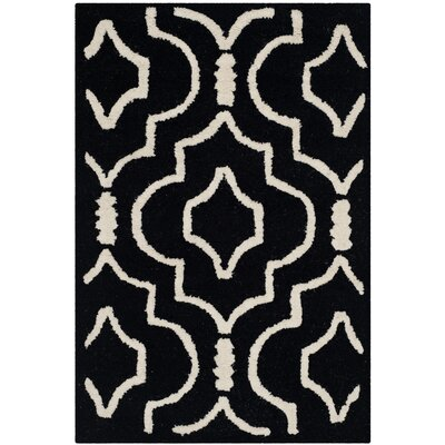 Martins Black / Ivory Area Rug Rug Size: Rectangle 26 x 4