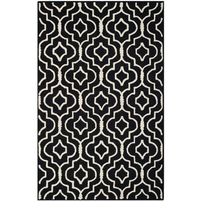 Martins Black / Ivory Area Rug Rug Size: Rectangle 4 x 6