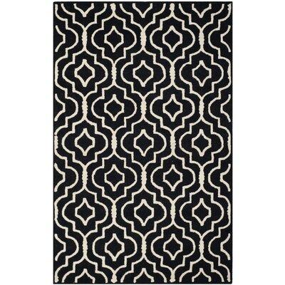 Martins Black / Ivory Area Rug Rug Size: 4 x 6