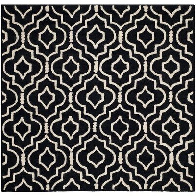 Martins Black / Ivory Area Rug Rug Size: Square 6