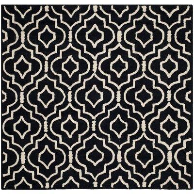 Martins Black / Ivory Area Rug Rug Size: Square 8