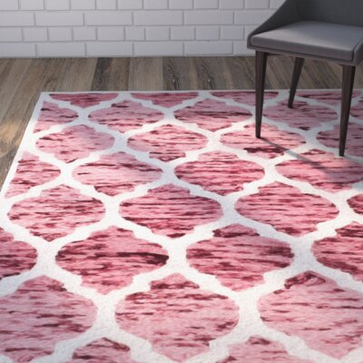 Short Hand-Loomed Red/Ivory Area Rug Rug Size: Runner 23 x 8