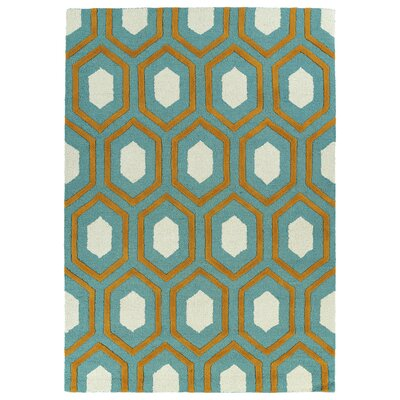 Serpens Handmade Teal Area Rug Rug Size: Rectangle 8 x 10