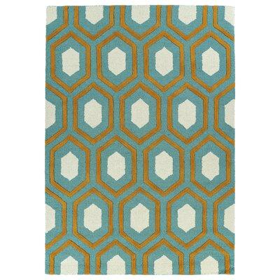Serpens Handmade Teal Area Rug Rug Size: 5 x 7