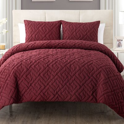Lennon 3 Piece Comforter Set Color: Burgundy, Size: Twin/Twin XL