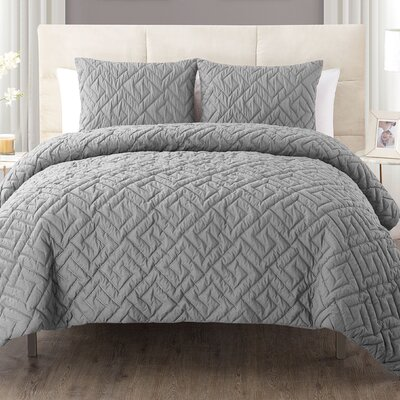 Lennon 3 Piece Comforter Set Color: Gray, Size: King