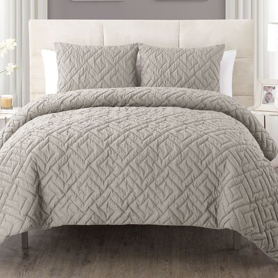 Lennon 3 Piece Comforter Set Color: Taupe, Size: King