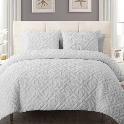Lennon 3 Piece Comforter Set Color: White, Size: Full/Queen
