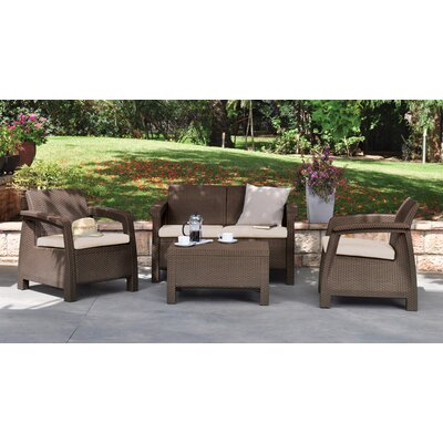 Berard 4 Piece Seating Group with Cushions Finish: Brown