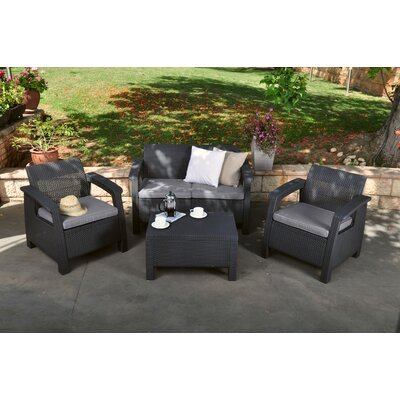 Berard 4 Piece Seating Group with Cushions Finish: Charcoal