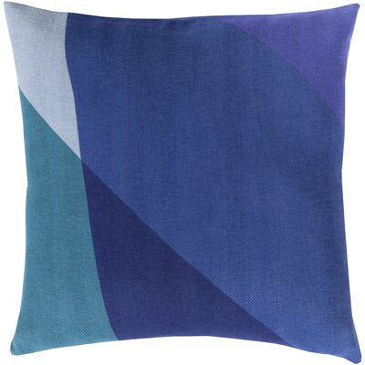 Clinkscales 100% Cotton Pillow Cover Size: 22 H x 22 W x 0.25 D, Color: Blue