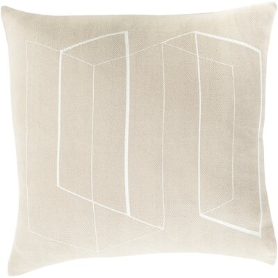 Sherrard 100% Cotton Throw Pillow Cover Size: 18 H x 18 W x 0.25 D, Color: Neutral