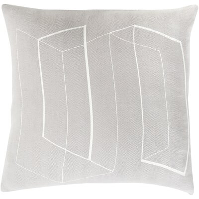 Sherrard 100% Cotton Throw Pillow Cover Size: 22 H x 22 W x 0.25 D, Color: Silver Gray