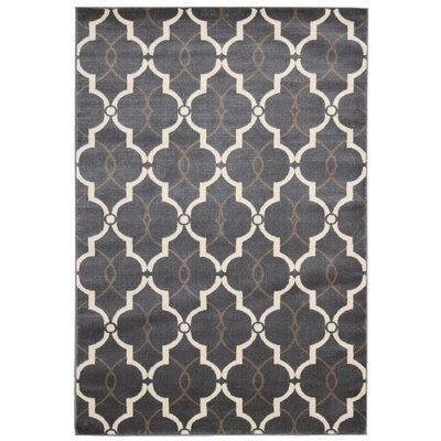 Severin Dark Gray/Ivory Area Rug Rug Size: 53 x 73