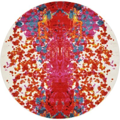 Shuman Red Area Rug Rug Size: Round 6' x 6'