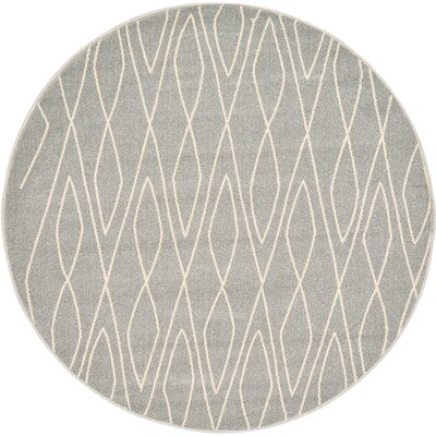 Doretha Gray Area Rug Rug Size: Round 6