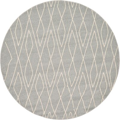 Spady Gray Area Rug Rug Size: Round 8