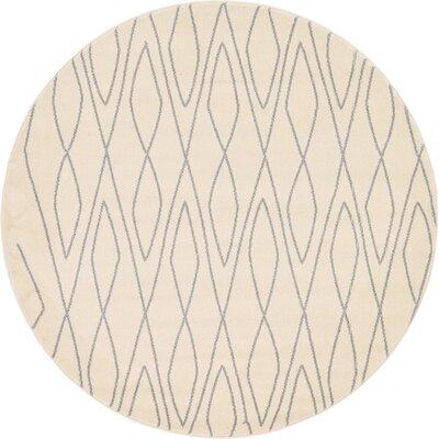 Doretha Ivory Area Rug Rug Size: Round 33