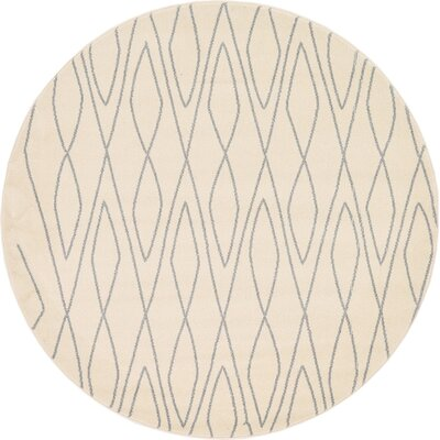 Spady Ivory Area Rug Rug Size: Round 6