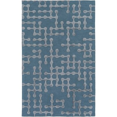 Serpentis Hand-Hooked Bright Blue/Sage Area Rug Rug size: Rectangle 3 x 5