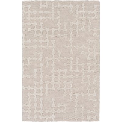 Serpentis Hand-Hooked Beige/Ivory Area Rug Rug size: Rectangle 3 x 5