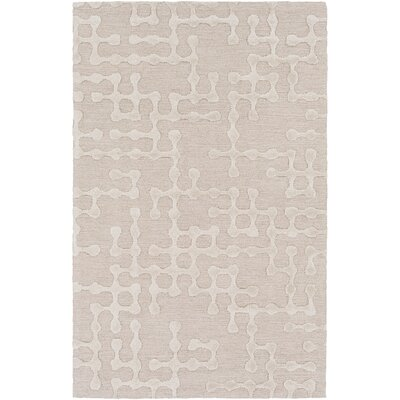 Serpentis Hand-Hooked Beige/Ivory Area Rug Rug size: 6 x 9