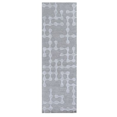 Serpentis Hand-Hooked Light Gray/Sage Area Rug Rug size: Runner 26 x 10